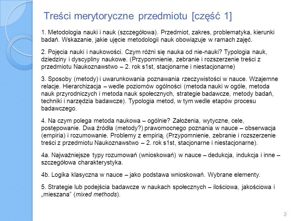 Treści merytoryczne przedmiotu [część 1]